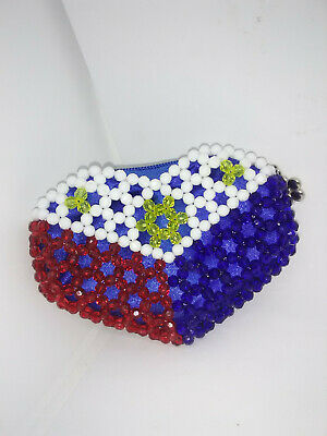 Adorable Heart Shaped Hand Beaded Coin Purse in Red, White & Blue  ()
