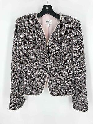 Armani Collezioni Multi Cotton Blend Women's Tweed Single Breasted Jacket Sz 6