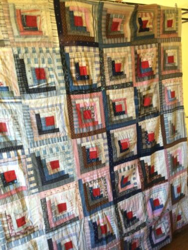 Antique Log Cabin QUILT TOP Americana,red,pink,brown,blue shirtings c1884+ vtg