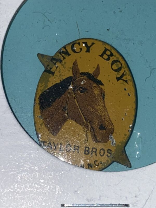 Fancy Boy Taylor Bros Toba Tag -Vintage Antique Litho Tin Tag - Tabs Attached
