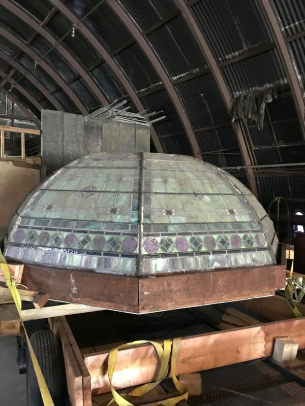 Antique stained  Ceiling glass dome 10' x 4' high