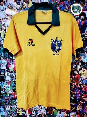 OFFICIAL BRAZIL 1986-1989 BRAZIL FOOTBALL SOCCER JERSEY ADULT TOPPER SMALL image