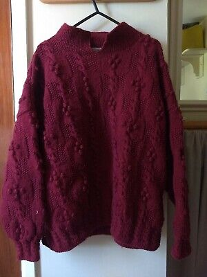 Vintage Elaine Newman Hand Knitted Berry Bobble Knit Jumper M/L