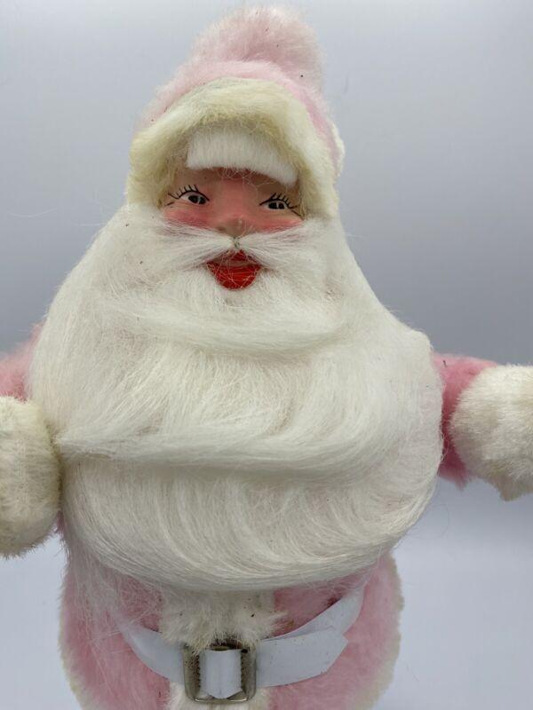 "Rare Vintage Harold Gale Pink Velvet Santa Claus Doll 15.5"" Tall"