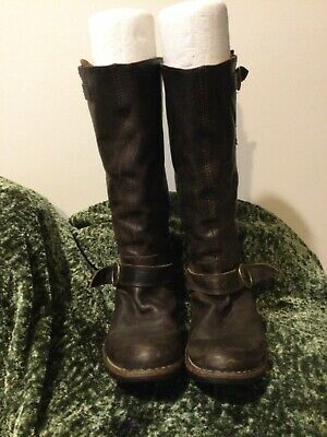 Fiorentini + Baker Brown Leather Tall High Buckle Pull On Boots 37 7 6.5