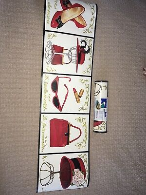 Red Hats Ladies Wallpaper Border, With shoes, sunglasses,  (Lady With Sunglasses)