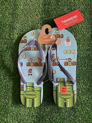 HAVAIANAS Top Super Mario Flip Flops Sandals US 11/12 Blue Splash Nintendo