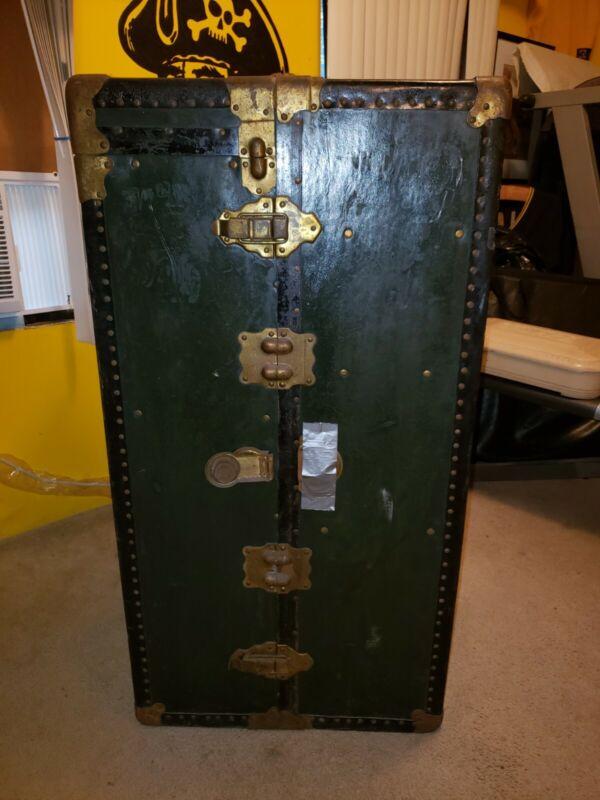 Antique Vintage Steamer Wardrobe Trunk