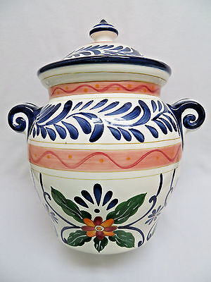 Talavera Hand Painted Pottery Ginger Jar w/ Lid 12