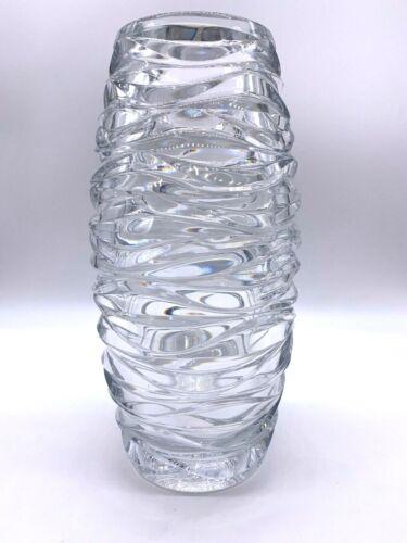 "ELEGANT VINTAGE X-LARGE TIFFANY & CO.  WAVE CUT 14"" CRYSTAL GLASS  VASE"
