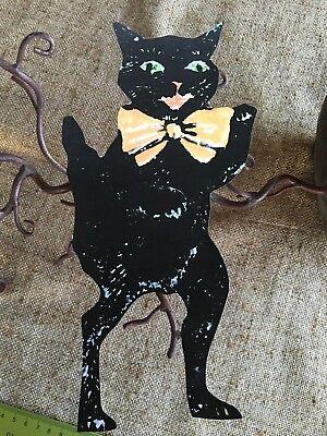 "1920s  Vintage Style Standing Cat Orange Bow Halloween Mini Scrap Decoration,10"""
