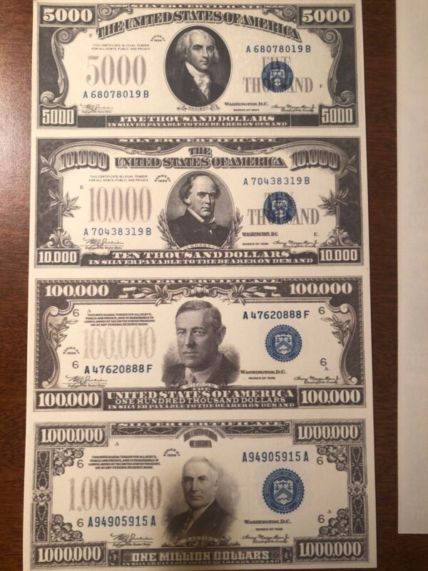 Copy 1934 Silver $5,000-$1 Million Uncut Reproduction Currency Money Sheet
