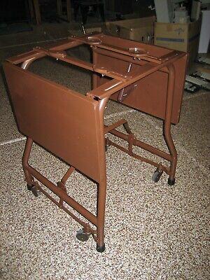 Used Typewriter Mobile Table 2 Wing Leaf Wood Metal On Wheels Wwarranty