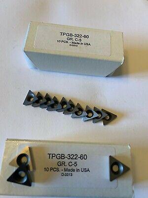 New 10 Pcs. Usa Tpgb 322-60 C 5 Grade Indexable Carbide Inserts