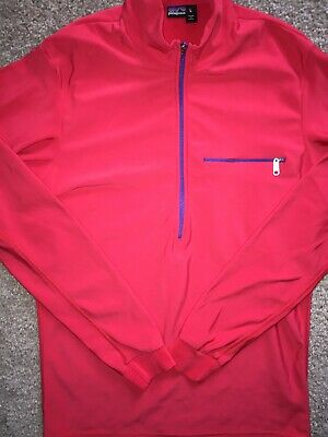 Patagonia LARGE RED Micro Fleece Pullover L/S 1/2 Zip L USA MADE Microfleece 1/2 Zip Pullover