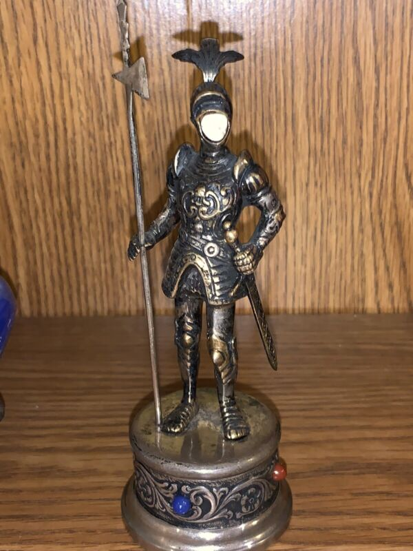 German Gilt Jeweled Sterling Silver Hand Carved Face Chess Knight  w/ scepter