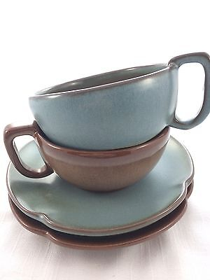 2 Vintage Frankoma Pottery Soup Cup Salad Plate Prairie Green Brown Satin 4 PC