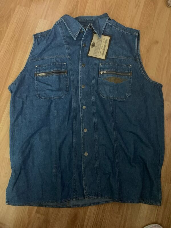 Harley Davidson Brooklyn 3XL DENIM VEST SHIRT NWT