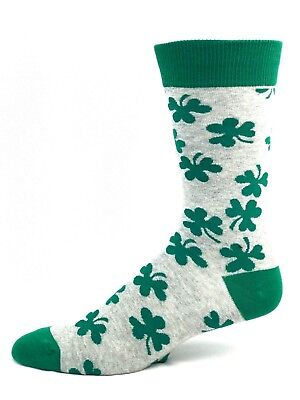 St. Patrick's Day Gray and Green Luck of The Irish Clover Crew Dress Socks](St Patrick's Day Apparel)