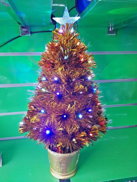 2ft 60cm Gold Golden Small Pre Lit LED Star Fibre Optic Christmas Tree Xmas