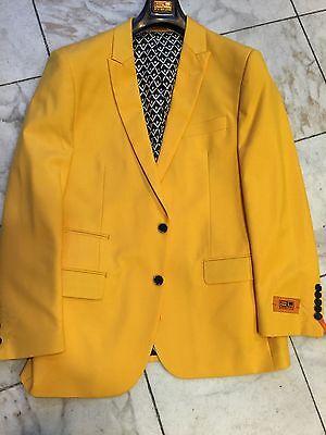 NWT STEVEN LAND Men's Yellow blazer jacket sport coat modern 2Bt. Size 50R