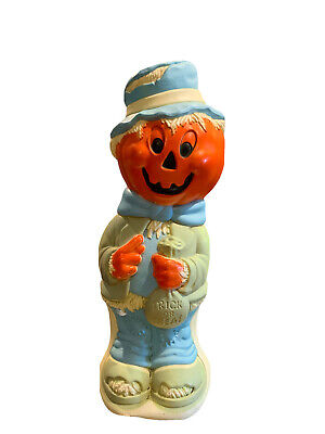 "Scarecrow Pumpkin Trick or Treat 34"" Halloween Blow Mold - Vintage"