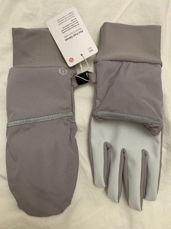 Lululemon Run Fast Gloves NWT DKCH/SLVI Size XS/S or M/L Fold Top Hooded LW9BMTS