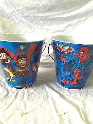Pair Of Superman And Spiderman Buckets- - Superman Bucket