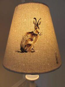 Handmade Candle Clip Lampshade Fryetts Hartley Hare Rabbit Hare natural fabric