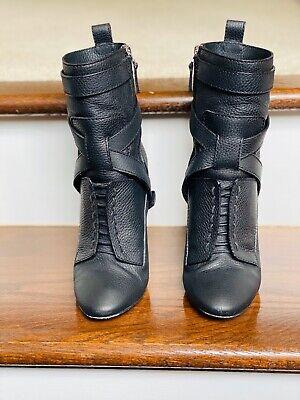 Fendi Women's Diana Harness Black Leather Boots Size 8 (38)