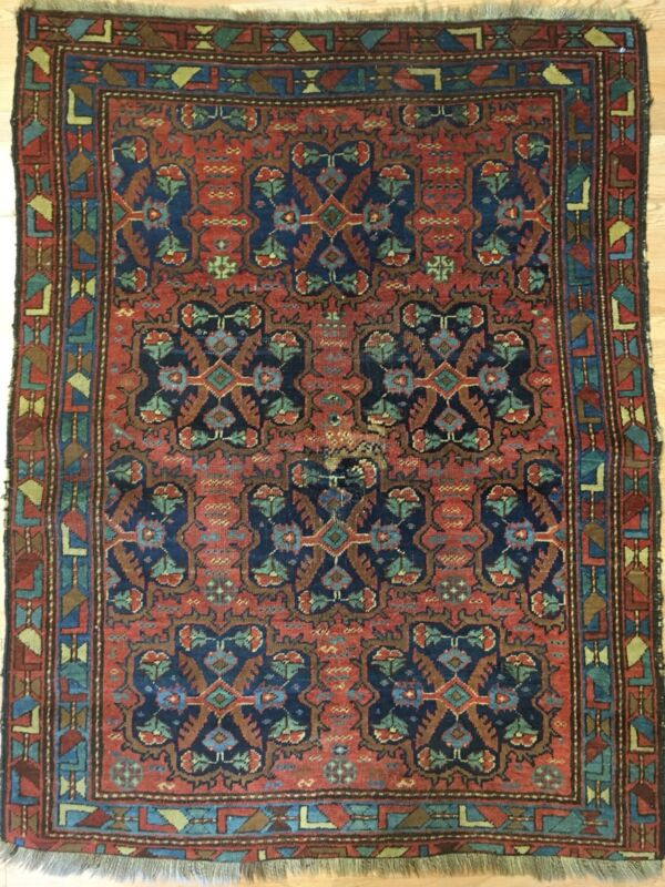 Terrific Tribal - 1900s Antique Oriental Rug - Nomadic Carpet - 4 X 5 Ft