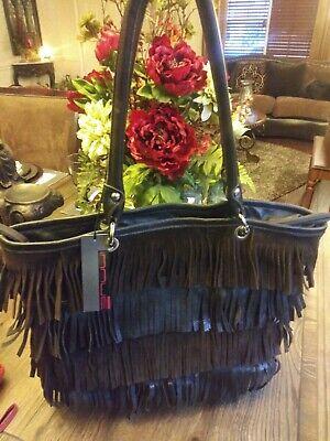 NWT, Innue Brown Italian Genuine Leather and Suede  Fringe Hobo Handbag, NEW