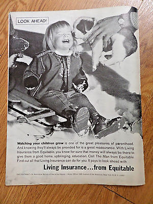 1962 Equitable Life Insurance Ad Watching Children Grow Pleasures Of  Parenthood