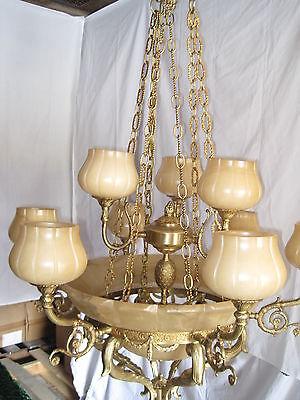 Cream Alabaster 12 Light Chandelier Ornate Cast Brass Satin BronzeMade in Spain
