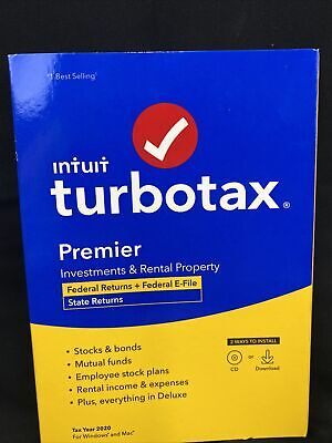 Intuit TurboTax Premiere 2020 Federal + State + E-file (Disc)