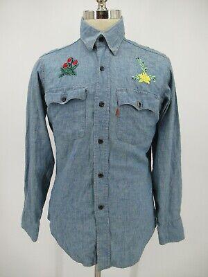 L6229 VTG Levi's Orange Tab Embroidered Flowers Denim Shirt Made in USA Size M