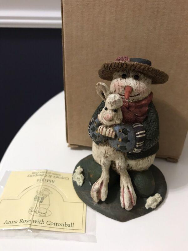 Coynes Co. American Chestnut Folk Art Anna Rose Snowman W/ Cottontail #AM1354
