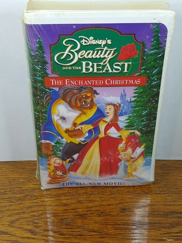 NEW SEALED DISNEY BEAUTY AND THE BEAST ENCHANTED CHRISTMAS VHS TAPE Clamshell