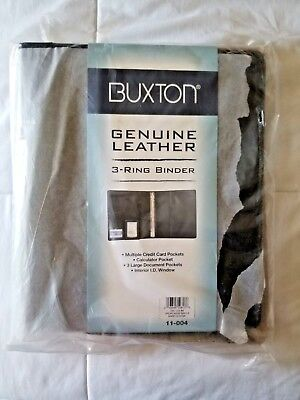 Buxton Genuine Leather Writing Pad Folio Black 3 Ring Binder Card Holder New