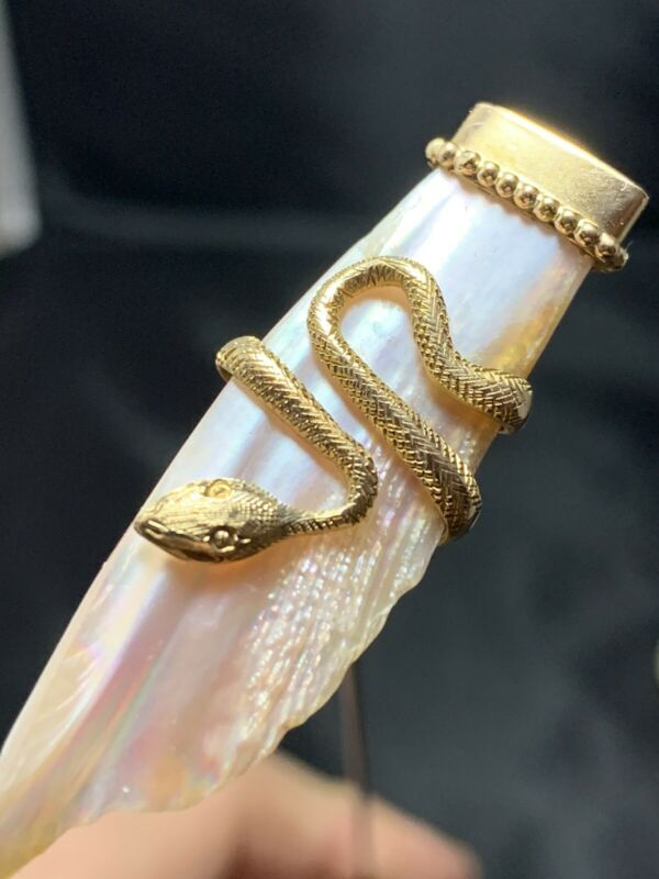 1900's 10k Hat Pin with Natural Pearl and Snake Motif
