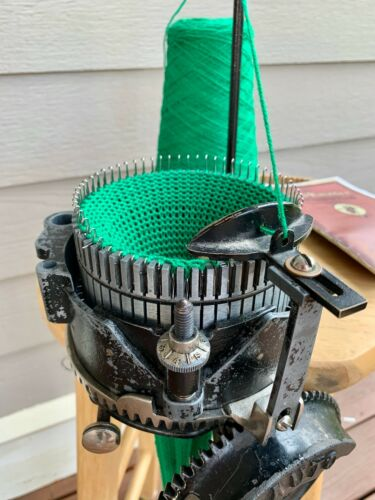 Auto Knitter Circular Sock Machine Complete with Ribber, Wood Travel Crate