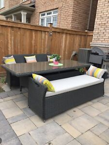 Rattan table with 2 benches and cousins, sunbrella fabric