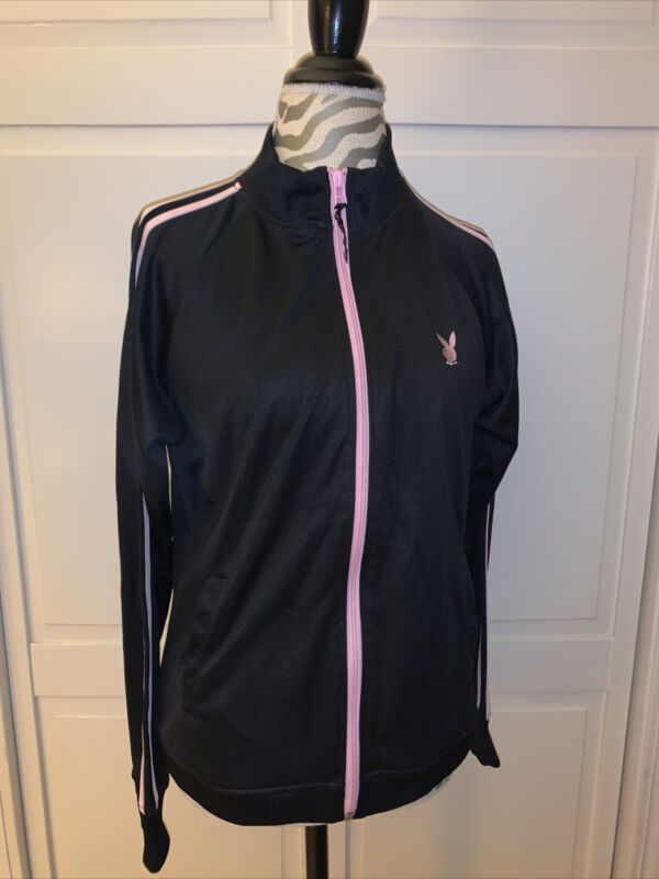 Playboy Athletic Jacket Size Small Pink And Black Vintage XL
