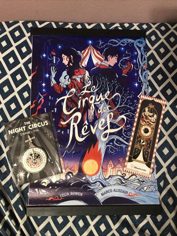 Illumicrate The Night Circus Box Items Hanging Banner Metal Bookmark Enamel Pin
