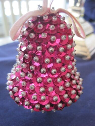 """Handmade Pink Sequin and Beads Bell Ornament 3 1/4"""""""