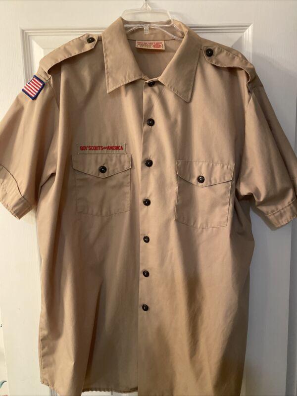 Boy Scout BSA UNIFORM SHIRT Tan Mens Extra Large XL Short Sleeve G41