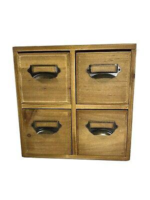 Solid Wood Desktop Organizer Storage Box With 4 Drawers Bronze Handles