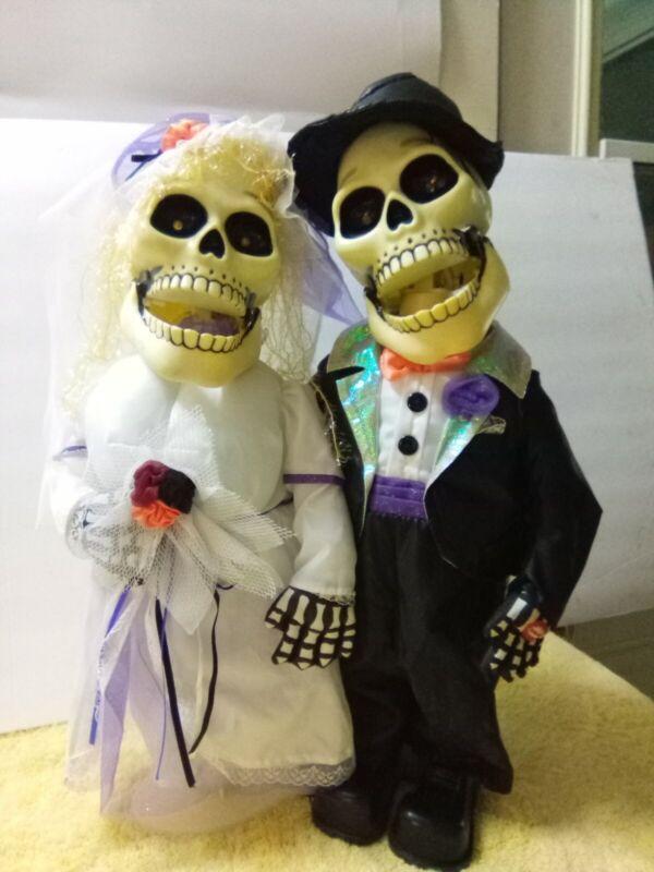 "18"" Halloween Skeleton Animanted Singing Wedding Duet ""I"
