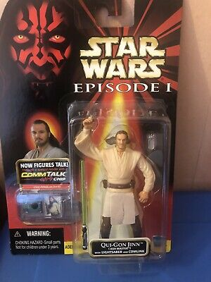 STAR WARS QUI-GON JINN JEDI MASTER ACTION FIGURE EPISODE 1 NEW + COMMTECH CHIP