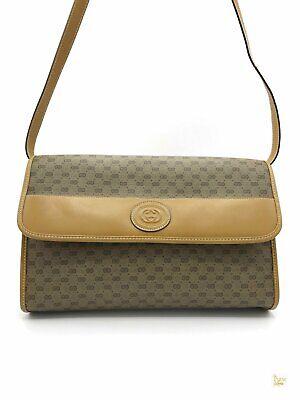 GUCCI Beige Tan Mini GG Web Supreme Vintage Flap Crossbody Bag